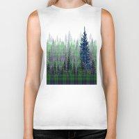 plaid Biker Tanks featuring Plaid Forest by LindaWexlerArt