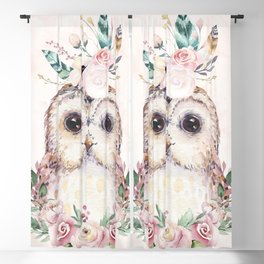 Forest Owl Floral Pink by Nature Magick Blackout Curtain