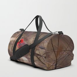 Cardinal - Bright Red Male Bird Rests in Raindrops Duffle Bag