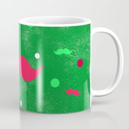 Christmas Mustache Red Green Polka Dots Pattern Coffee Mug
