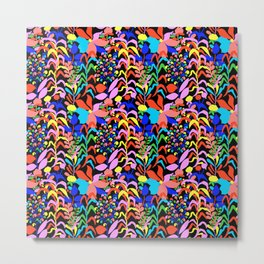 60's Fiesta Floral 2 in Black Metal Print