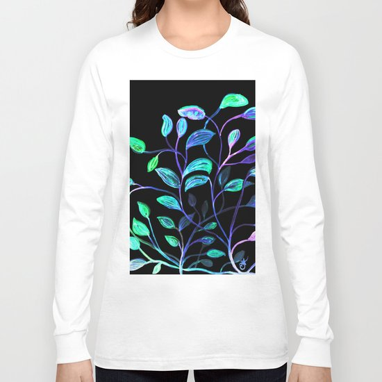 Do Not Go Into The Night, Red and Green Leaves Long Sleeve T-shirt