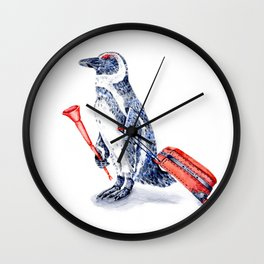 Penguin with a Suitcase and a Vuvuzela Wall Clock