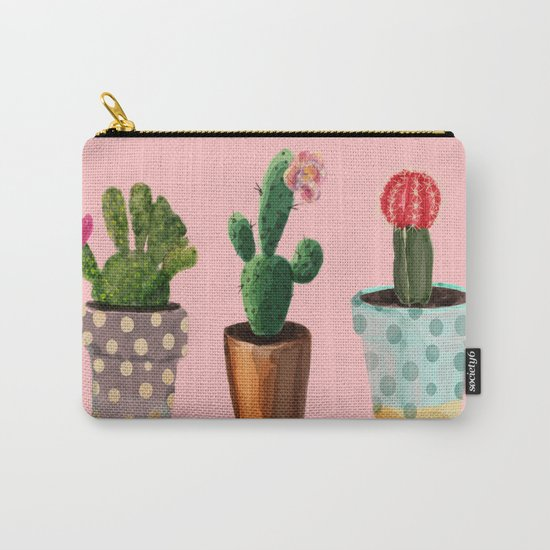 Three Cacti With Flowers On Pink Background Carry-All Pouch
