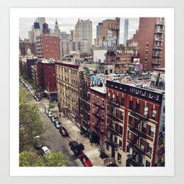 New York street views - Chinatown from Manhattan bridge Art Print
