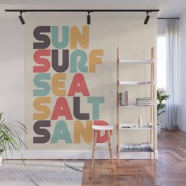 Retro Sun Surf Sea Salt Sand Typography Wall Mural