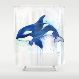Killer Whale Orca Watercolor Shower Curtain