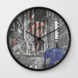 Elephant in New York Picture Wall Clock