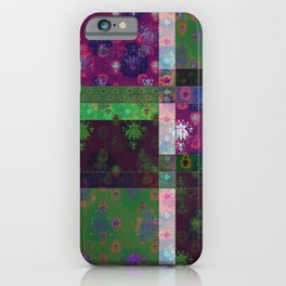 Lotus flower green and maroon stitched patchwork - woodblock print style pattern iPhone Case
