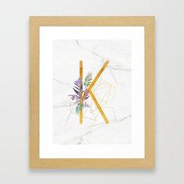 Modern glamorous personalized gold initial letter K, Custom initial name monogram gold alphabet prin Framed Art Print