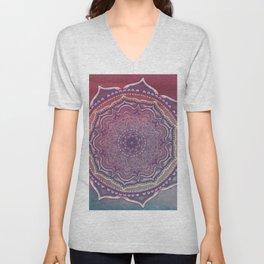 Pink and Blue Mandala Unisex V-Neck