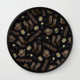 Cowboy Typography Artsy Cool Brown Watercolor Wall Clock