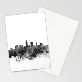 Cleveland skyline in black watercolor on white background Stationery Cards