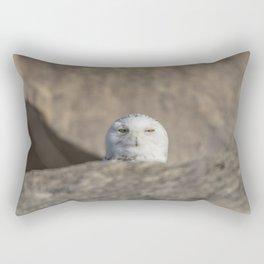 Peekaboo Snowy Owl Rectangular Pillow
