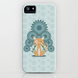 Cat in the Flowerfield iPhone Case