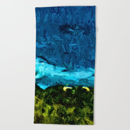 Blue Sea with Turquoise Waves and Green Grass Beach Towel