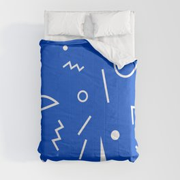 Abstract Minimal Shapes 05 - Pattern Modern Texture Fun Blue. Gift idea Home deco Comforters