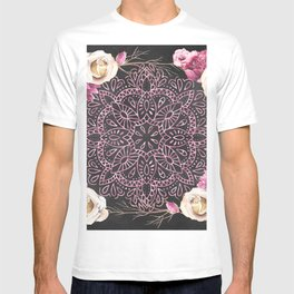 Mandala Night Rose Gold Garden Pink Black Yellow T-shirt