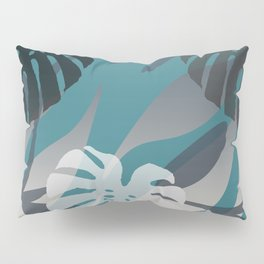 Big Monstera Leaves grey turquoise jungle Pillow Sham