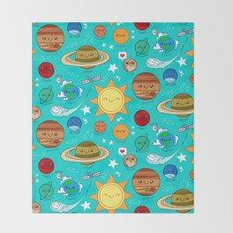 Planet party Throw Blanket