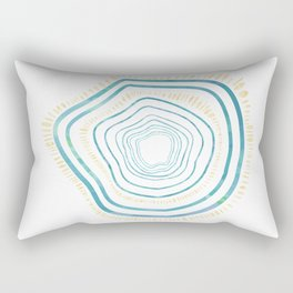 Tree Rings Collection: Blue and Gold Rectangular Pillow