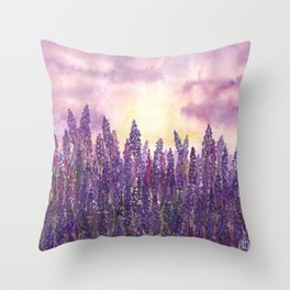 Lavender Field At Dusk Throw Pillow