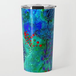 In Too Deep - Blue Abstract Flowers Travel Mug