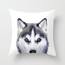 Siberian Husky original painting by Miart Throw Pillow