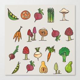 Vegetable Mushroom Fruit Pattern Canvas Print