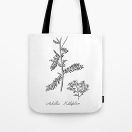 Yarrow Botanical Illustration Tote Bag