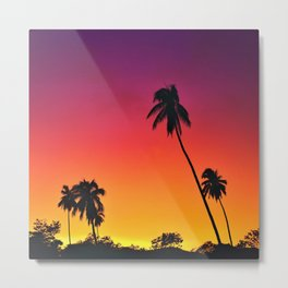 Sunset Silhouette of Palm Trees at Golden Hour Metal Print