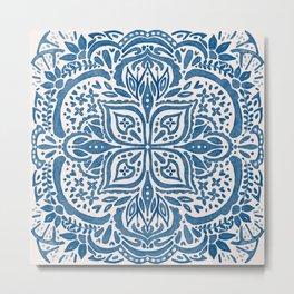 Indigo Blue Folk art Orange Blossoms Metal Print