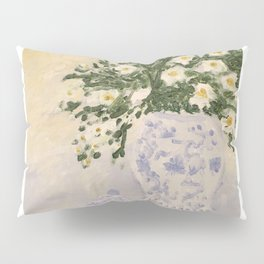 Blue and White Ginger Jar and White Flowers  Pillow Sham