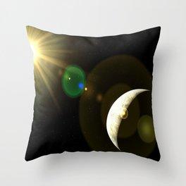 lens flare moon Throw Pillow