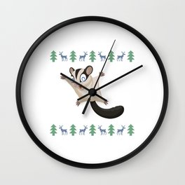 Sugar Glider Christmas Xmas Flying Squirrel Omnivorous Flyers Arboreal Animal Wildlife Gift Wall Clock