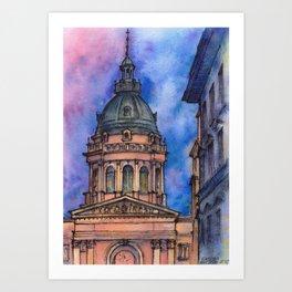 Budapest ink & watercolor illustration Art Print