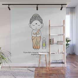 Buddha with lamp and quote Wall Mural