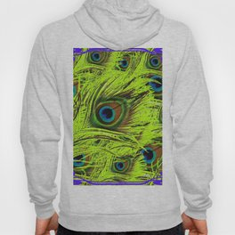 PURPLE ART NOUVEAU GREEN PEACOCK FEATHERS ABSTRACT ART Hoody