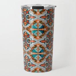 Seamless Floral Pattern Ornamental Tile Design  3 - Red Travel Mug