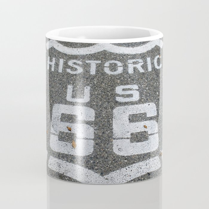 Route 66 sign on the road Coffee Mug