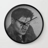 dean winchester Wall Clocks featuring Dean Winchester by DustyRoseArt