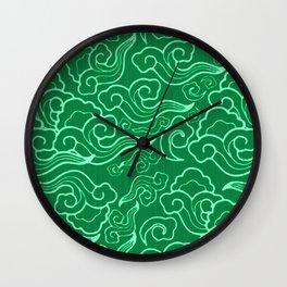 Vintage Japanese Clouds, Jade Green Wall Clock
