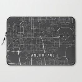 Anchorage Map, Alaska USA - Charcoal Portrait Laptop Sleeve