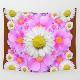 Chocolate Brown Color Shasta Daisies & Rose Pattern Garden Art Wall Tapestry