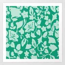Green Repeat Floral Art Print