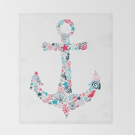 Seashell Anchor Throw Blanket