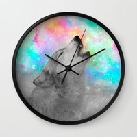 hobbes Wall Clocks featuring Breathing Dreams Like Air (Wolf Howl Abstract II: Gray) by soaring anchor designs