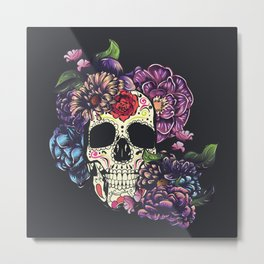 Day of the dead skull with flowers Metal Print