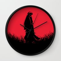 inuyasha Wall Clocks featuring Red Moon Inuyasha by Timeless-Id