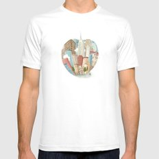 The Big Apple and I MEDIUM White Mens Fitted Tee